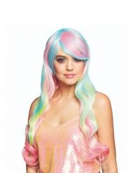 Peruca comprida arco-íris pastel mulher
