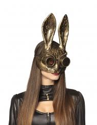 Meia-máscara coelho dourado adulto Steampunk