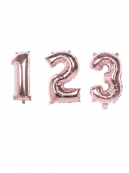 Balão alumínio cor-de-rosa metalizado número 36 cm