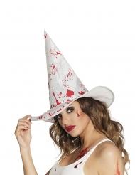 Chapéu de bruxa branco sangrento adulto