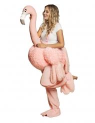Disfarce mulher em flamingo rosa adulto
