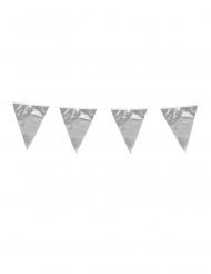 Grinalda de mini bandeirolas prateadas 3 m