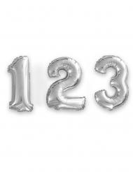 Balão alumínio número prateado 35 cm