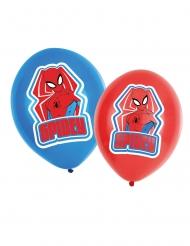 6 Balões de látex Spiderman™ vermelho e azul 27,5 cm