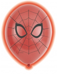 5 Balões de látex LED Spiderman™ 28 cm