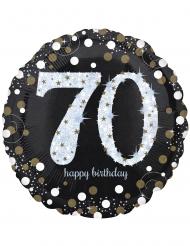Balão alumínio holográfico 70 anos - 71 x 71 cm