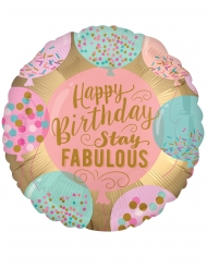 Balão alumínio Happy Birthday cor-de-rosa 43 cm