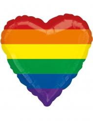 Balão alumínio coração arco-íris 43 cm