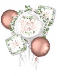 5 Balões alumínio cor-de-rosa gold e vegetal Bridal Shower