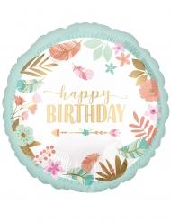 Balão alumínio redondo happy birthday verde água 43 cm
