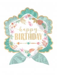 Balão alumínio flor Happy Birthday verde água 63 x 68 cm
