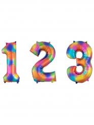 Balão alumínio número arco-íris 63 x 88 cm