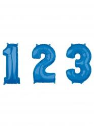 Balão alumínio número azul 43 x 66 cm