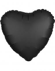 Balão alumínio coração preto acetinado 43 cm