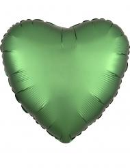 Balão alumínio coração verde acetinado 43 cm