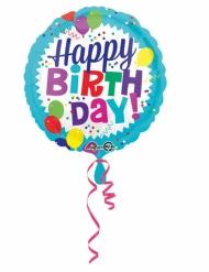 Balão alumínio Happy Birthday azul 43 cm