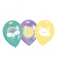 6 Balões de látex Pequena Nuvem verde menta, roxo e amarelo 27,5 cm