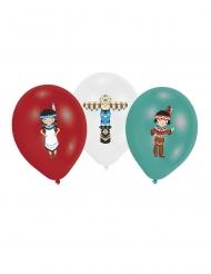 6 Balões de látex Tipi das tribos vermelho, branco e menta 27.5 cm