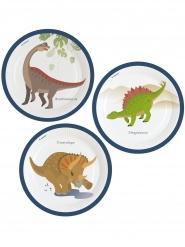 8 Pratos de cartão Dinossauro 23 cm