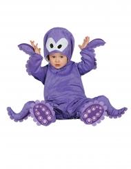 Disfarce macacão com capuche polvo violeta bebê