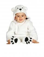 Disfarce macacão com capuz urso branco bebé