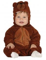 Disfarce macacão com capuche urso marrom bebê