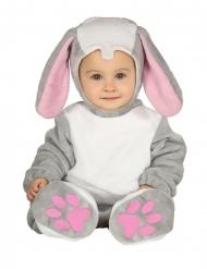 Disfarce macacão com capuz coelho cinzento bebé