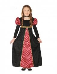 Disfarce Dama Medieval preta e vermelha menina
