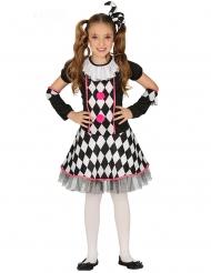 Disfarce arlequina preto e rosa menina
