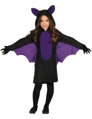 Disfarce morcego preto e lilás menina