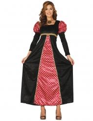 Disfarce dama medieval preto e vermelho mulher