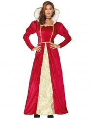 Disfarce rainha medieval vermelha e dourada mulher