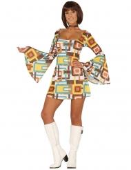 Disfarce vestido disco geométrico mulher
