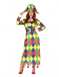Disfarce arlequina colorida mulher