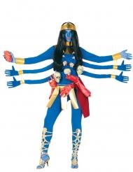Disfarce Deusa Hindu azul 6 braços mulher