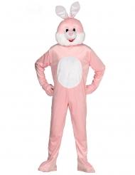 Disfarce macacão mascote coelho cor-de-rosa adulto