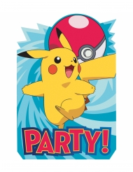 8 Convites de cartão Pokemon™ 20 x 13 cm