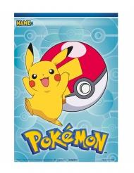 8 Sacos de festa de plástico Pokemon™ 17.5 x 20 cm