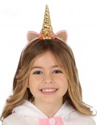 Bandolete unicórnio dourado e rosa criança
