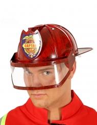 Capacete capitão bombeiro vermelho adulto