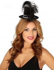 Mini chapéu alto brilhante preto com rosa e pena mulher