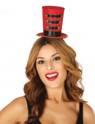 Mini chapéu alto majorette vermelho mulher
