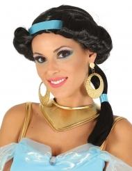 Peruca preta princesa do deserto com bandolete azul mulher