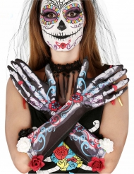 Luvas esqueleto dia de los muertos com flores adulto