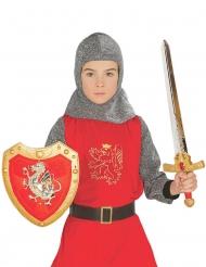 Kit escudo e espada cavaleiro vermelho criança