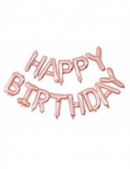 Balões alumínio Happy Birthday cor-de-rosa gols 305 x 35 cm