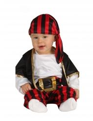 Disfarce capitão dos piratas preto e vermelho bebe