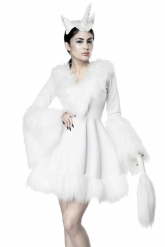 Disfarce vestido unicornio branco sexy mulher