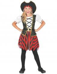 Disfarce pirata preto e vermelho menina