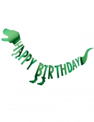 Grinalda de cartão Happy Birthday dinossauro verde 2 m